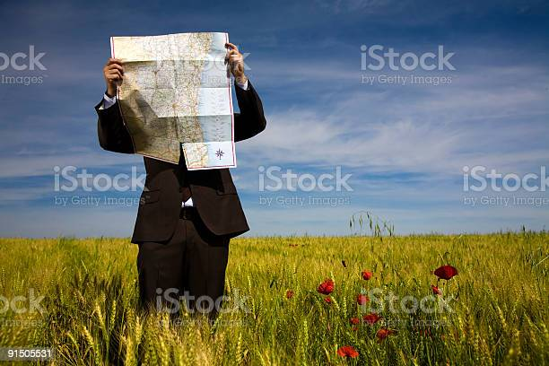 Businessman Lost In Field Using Map Stock Photo - Download Image Now