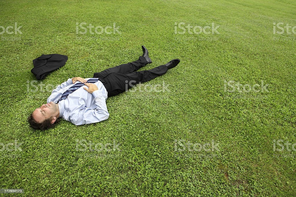 Businessman lying in meadow royalty-free stock photo
