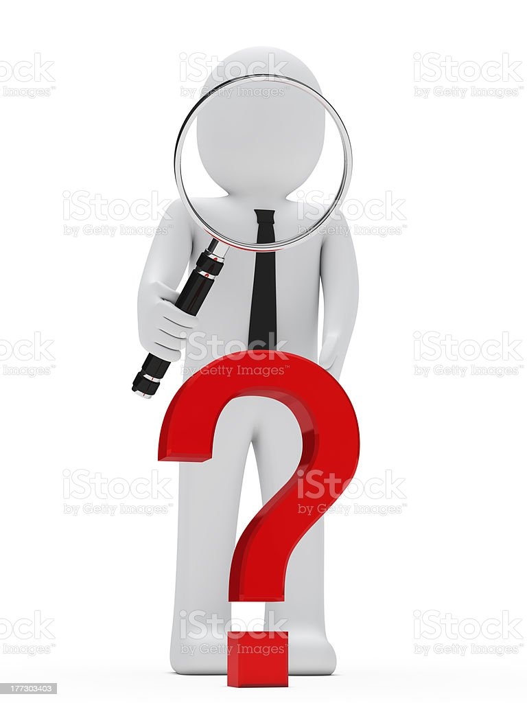 businessman magnifying glass question mark royalty-free stock photo