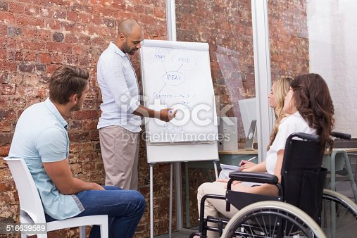 Businessman making a presentation to his fellow coworkers in the office