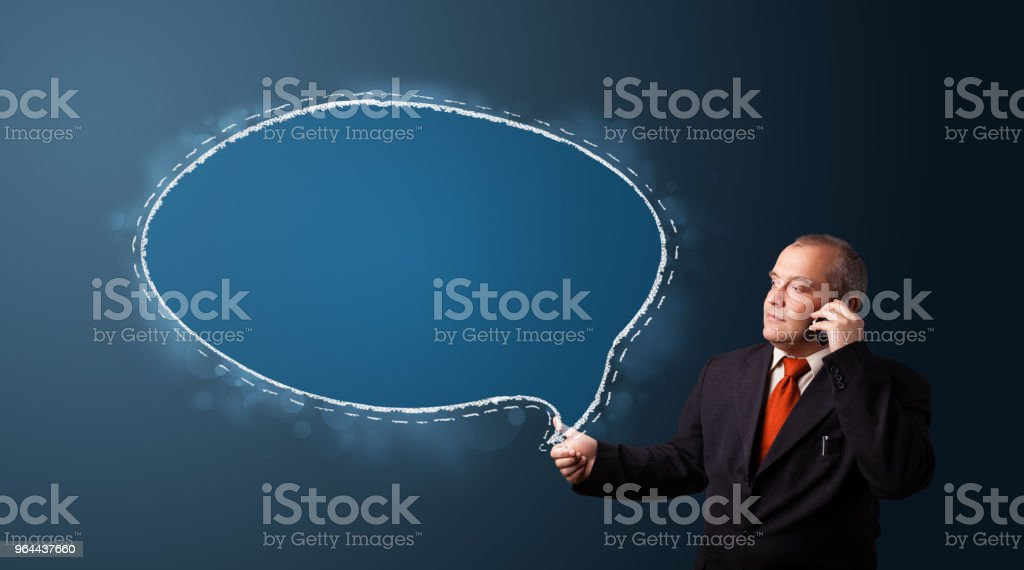 businessman making phone call and presenting speech bubble copy space - Royalty-free Adult Stock Photo