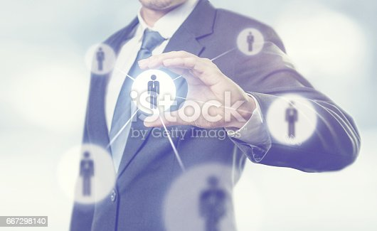istock Businessman managing leadership group people icons. 667298140