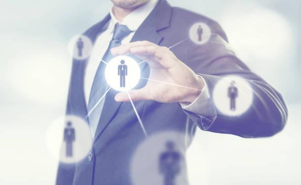 Geschäftsmann Führung Gruppe Menschen Symbole verwalten. – Foto