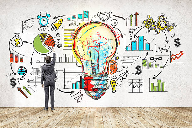 Businessman near blackboard with startup sketch Rear view of businessman in suit drawing colorful startup sketch. Large light bulb icon in center. Concept of successful startupper market research stock pictures, royalty-free photos & images