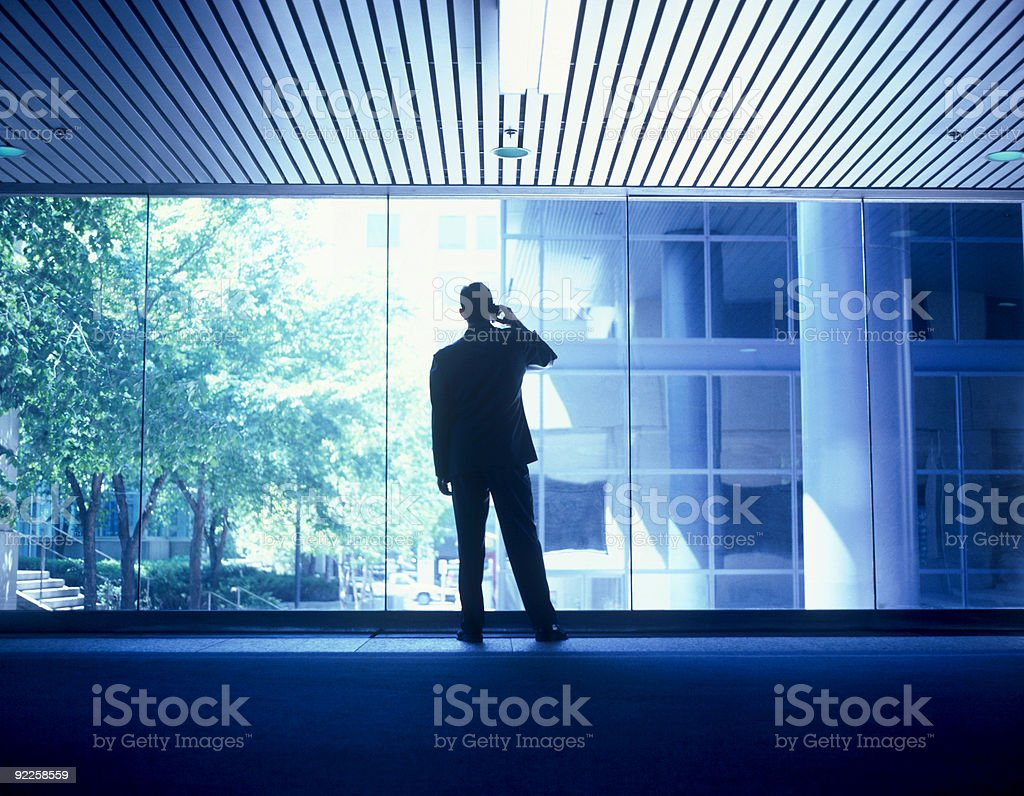 Businessman negotiating on cellphone in office building royalty-free stock photo