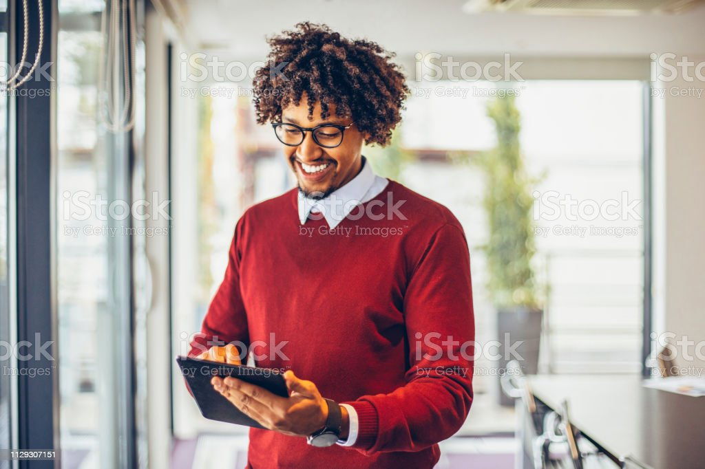 Businessman of African American origin in conference hall royalty-free stock photo
