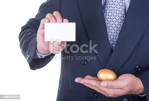 844190384 istock photo Businessman offer blank business card 468940834