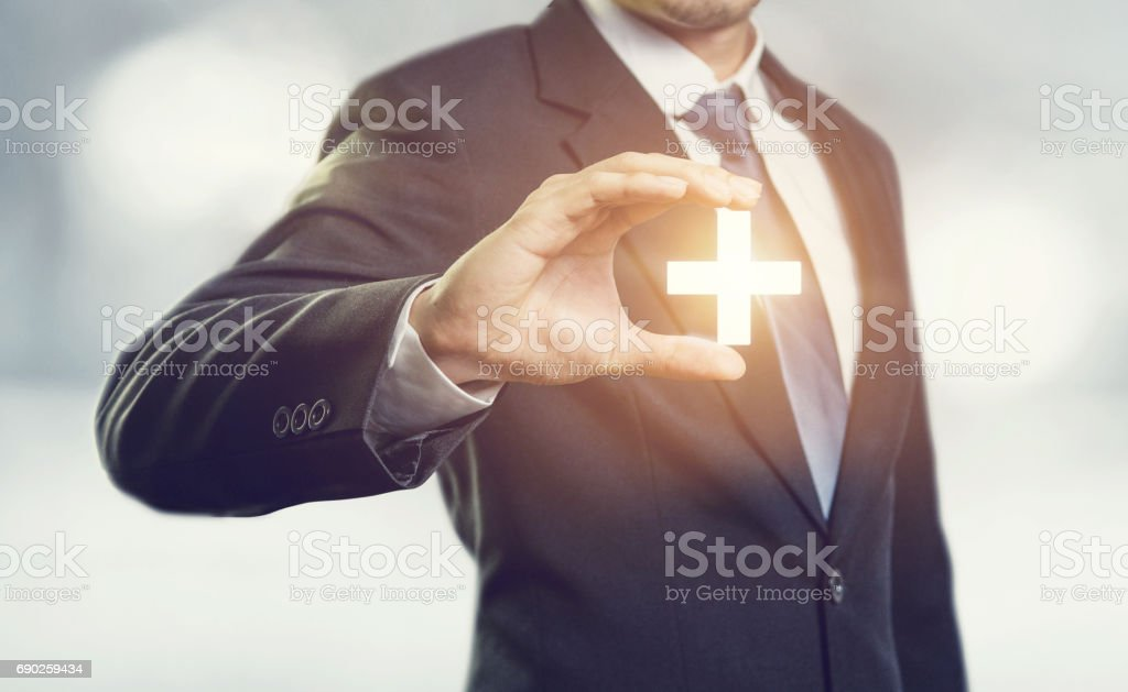 Businessman offer positive thing stock photo