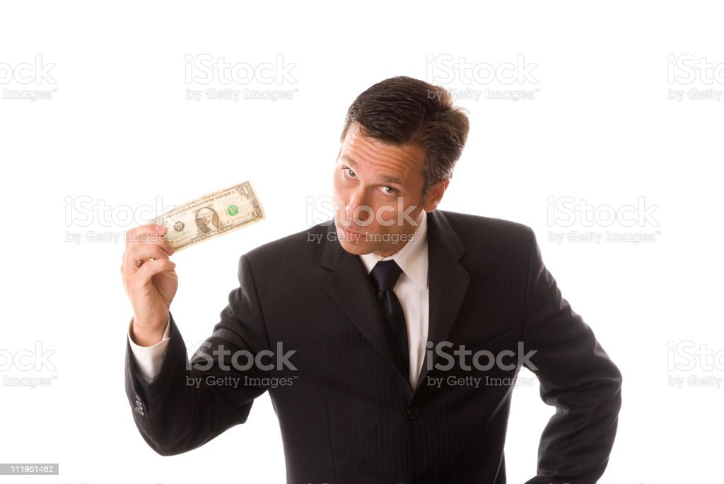 Businessman Offering Dollar Isolated on White Background royalty-free stock photo