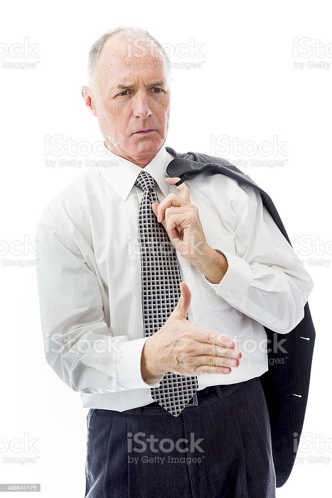 Businessman offering hand for handshake stock photo