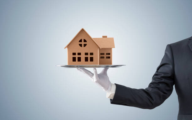 Businessman offering house model on silver tray stock photo
