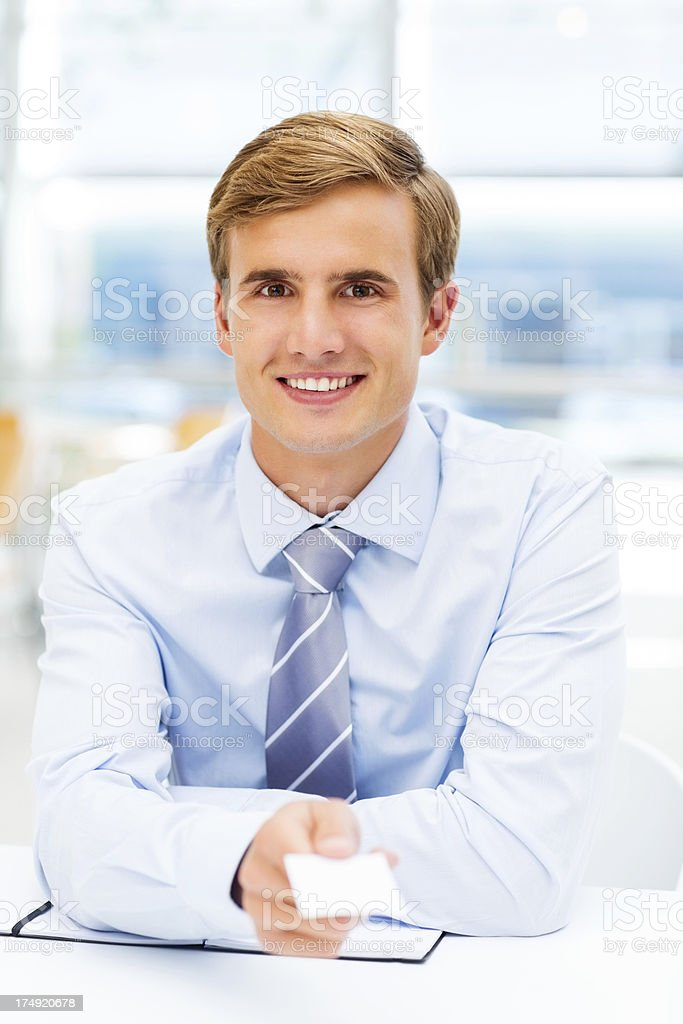 Businessman Offering You Business Card royalty-free stock photo