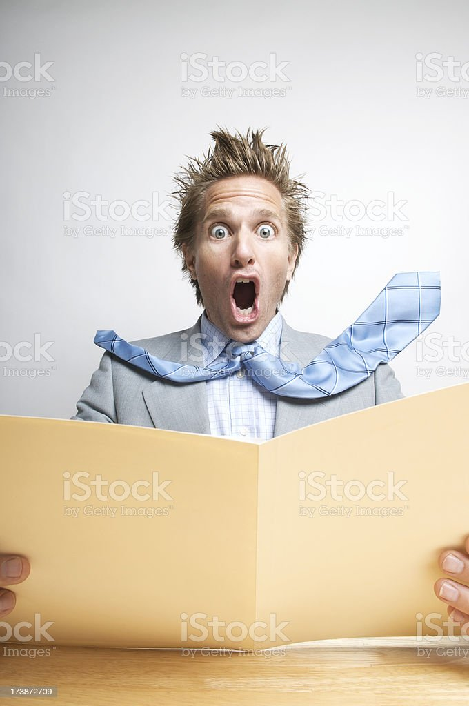 Businessman Office Worker Freaking Out with Folder royalty-free stock photo
