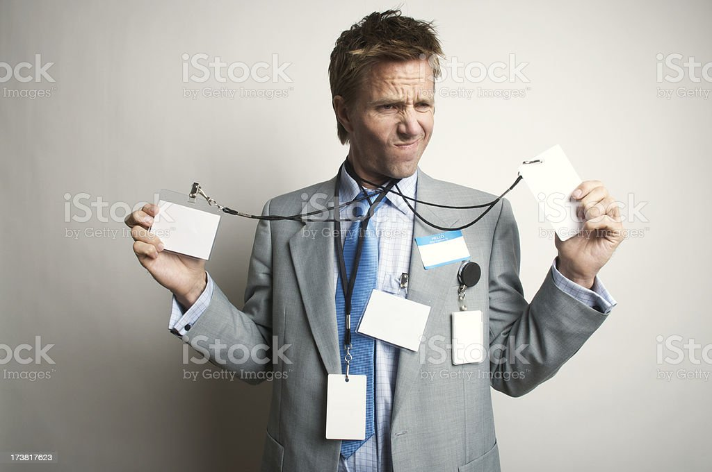 Businessman Office Worker Having an Identity Tag Crisis royalty-free stock photo