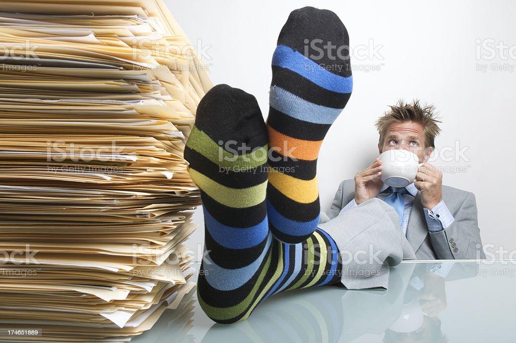 Businessman Office Worker Taking Feet Up Coffee Break Kick Back royalty-free stock photo