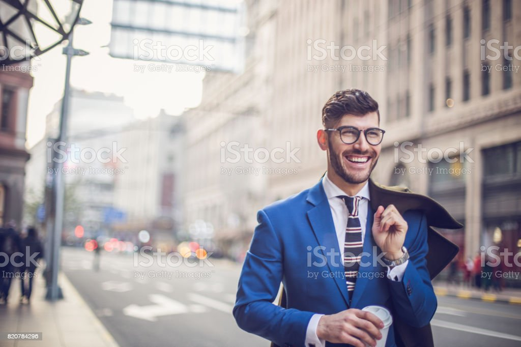 Businessman on a coffee break stock photo