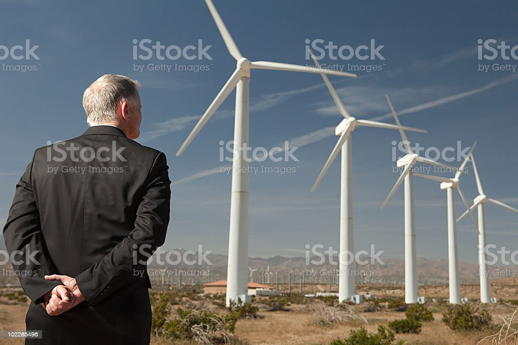 Businessman on a wind farm royalty-free stock photo
