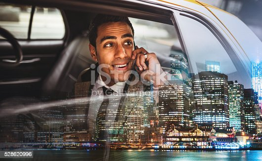 istock Businessman on a yellow cab in New York City 528620996