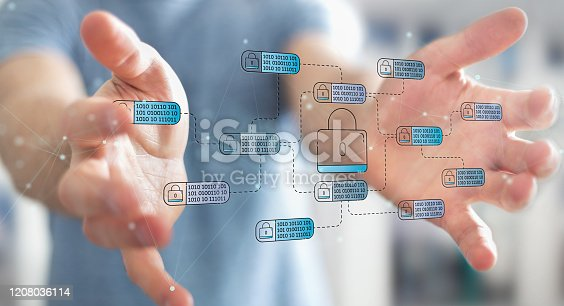 683716072 istock photo Businessman on blurred background protecting his datas with thin line security interface 1208036114