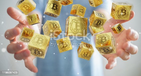 Businessman on blurred background using bitcoins cryptocurrency 3D rendering