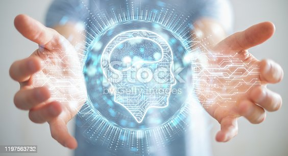 istock Businessman on blurred background using digital artificial intelligence icon hologram 3D rendering 1197563732