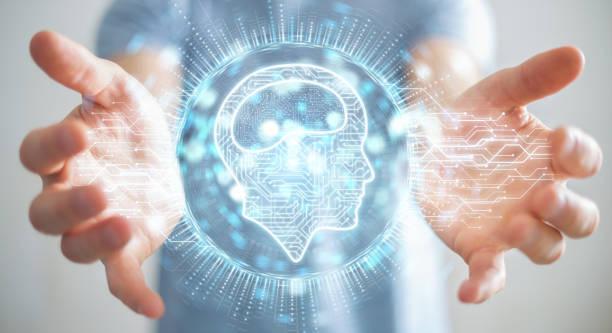 empresario sobre fondo borroso usando el icono de inteligencia artificial digital de renderizado 3d - inteligencia artificial fotografías e imágenes de stock