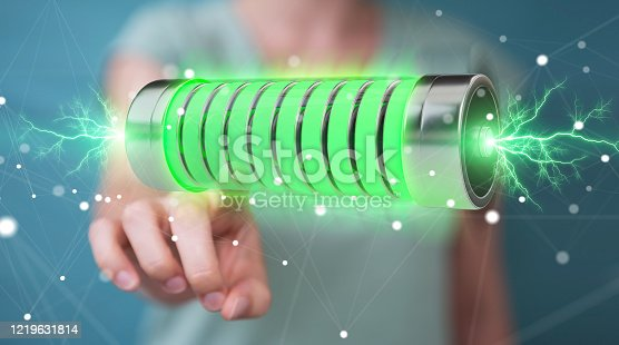 Businessman on blurred background using green battery with lightnings 3D rendering