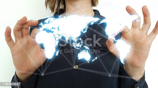 istock Businessman on blurred background using world map interface 1167929557