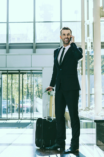 Businessman On Business Travel In Hotel Stock Photo - Download Image Now