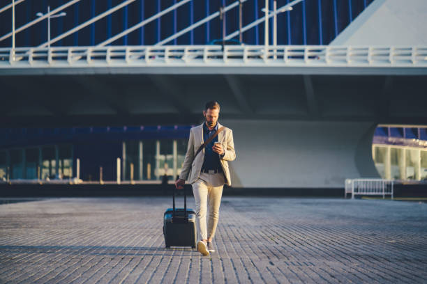 Businessman on business trip in Spain stock photo