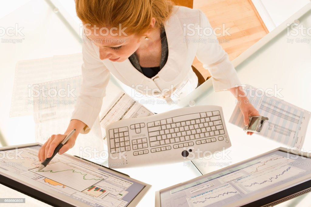 Businessman on Computer stock photo