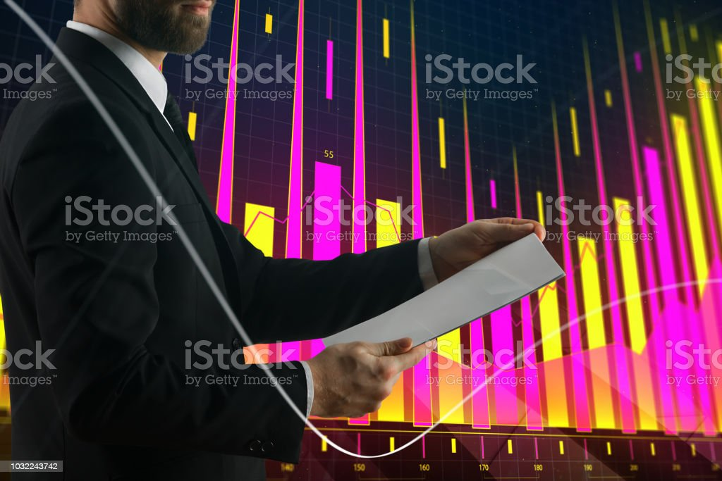 Businessman on forex background stock photo