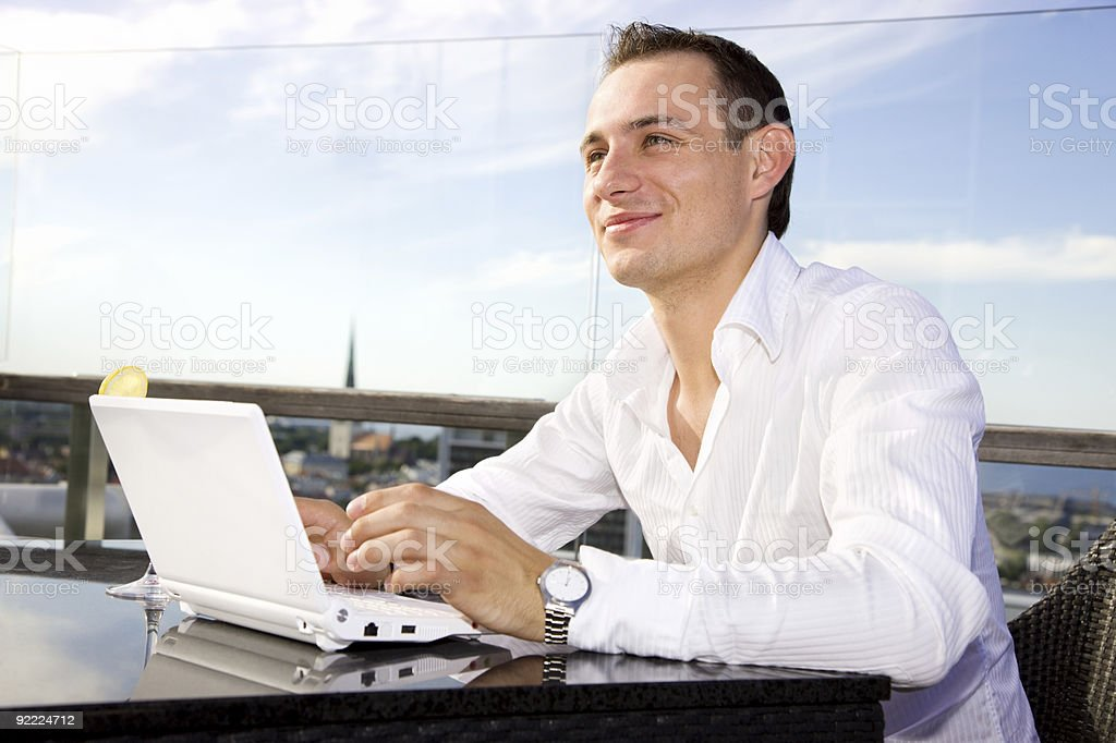 businessman on leisure with laptop royalty-free stock photo