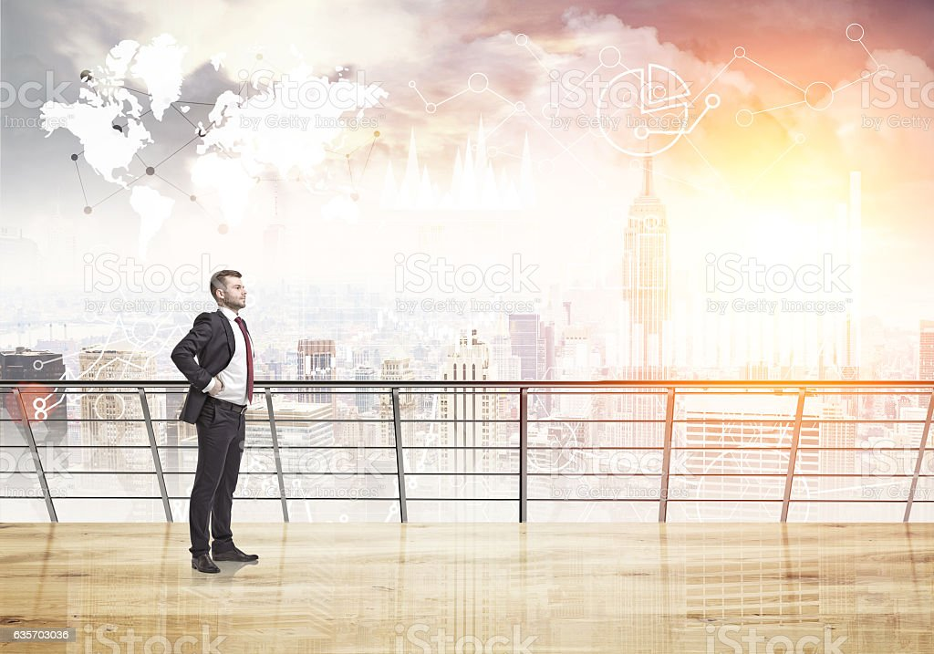 Businessman on New York balcony royalty-free stock photo