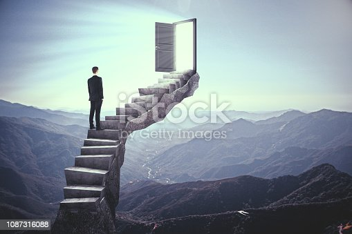 Businessman standing on stairs with abstract open door. Landscape background. Dream, exit and success concept. 3D Rendering