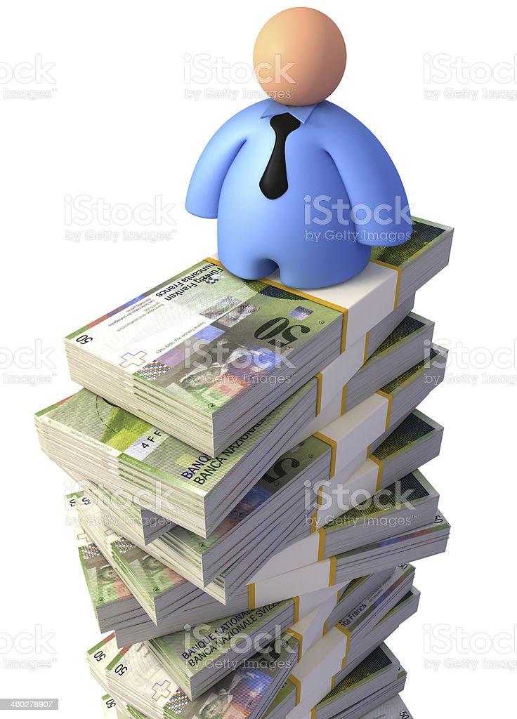 Businessman on Swiss Francs royalty-free stock photo