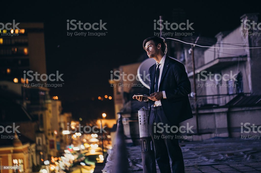 Businessman on the balcony - Photo