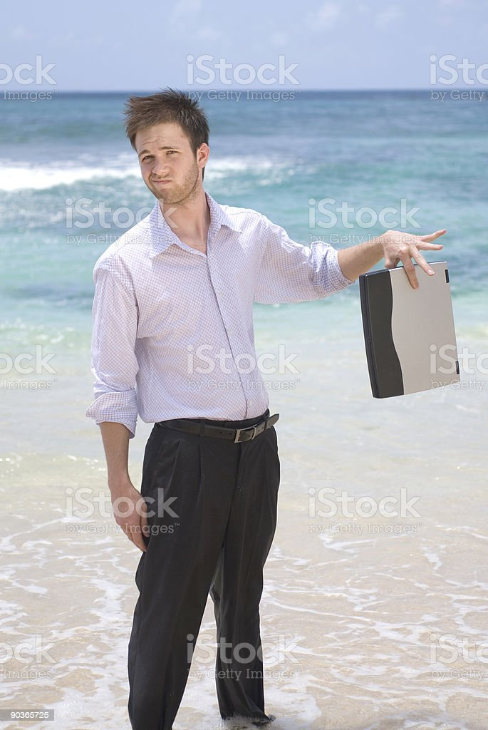 Businessman On the Beach royalty-free stock photo