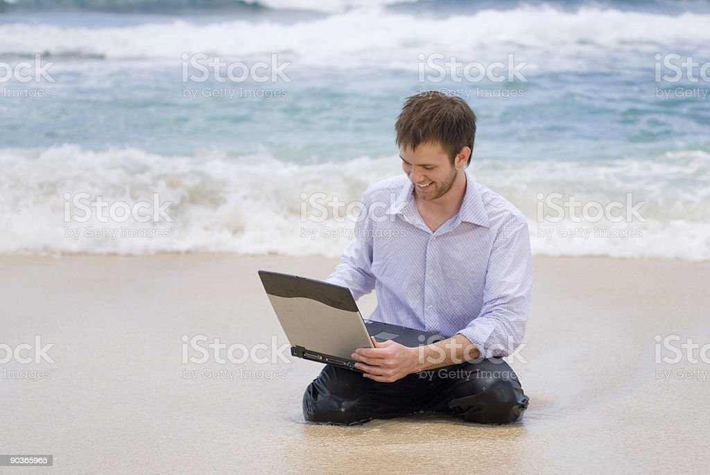 Businessman On the Beach royalty-free stock photo