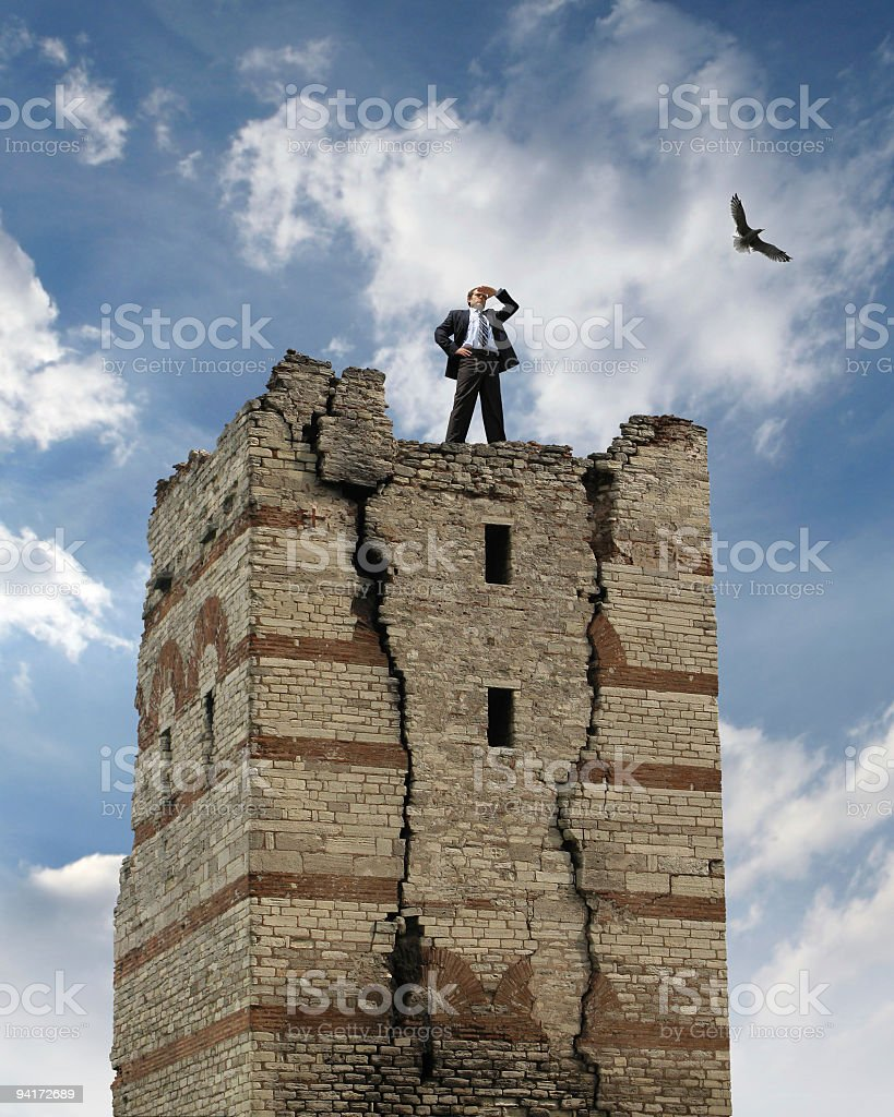 Businessman On The Castle royalty-free stock photo