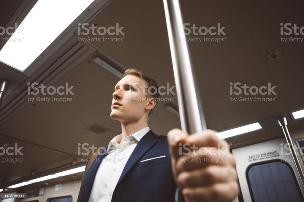 Businessman on the move stock photo