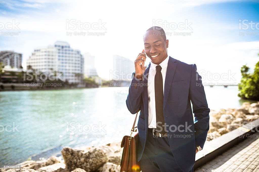 businessman on the phone in brickell Miami stock photo