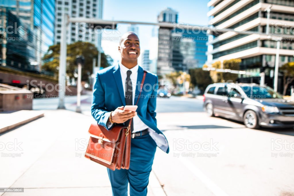 businessman on the phone in the miami downtown stock photo