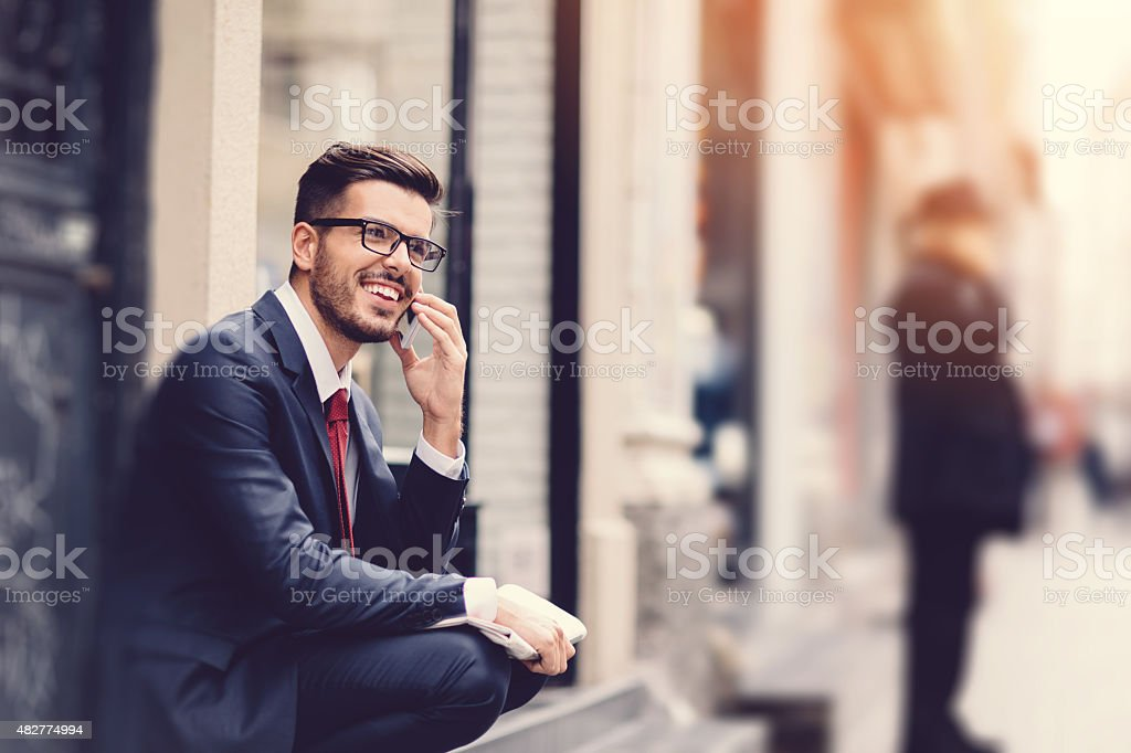 Businessman on the phone stock photo