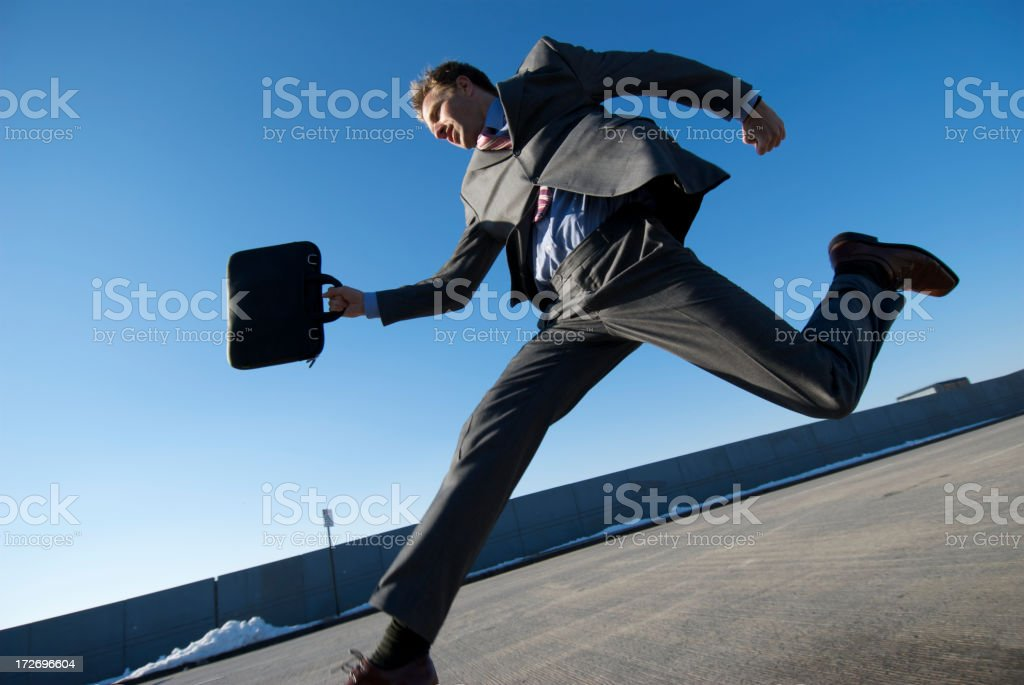 Businessman On The Run City Sidewalk royalty-free stock photo