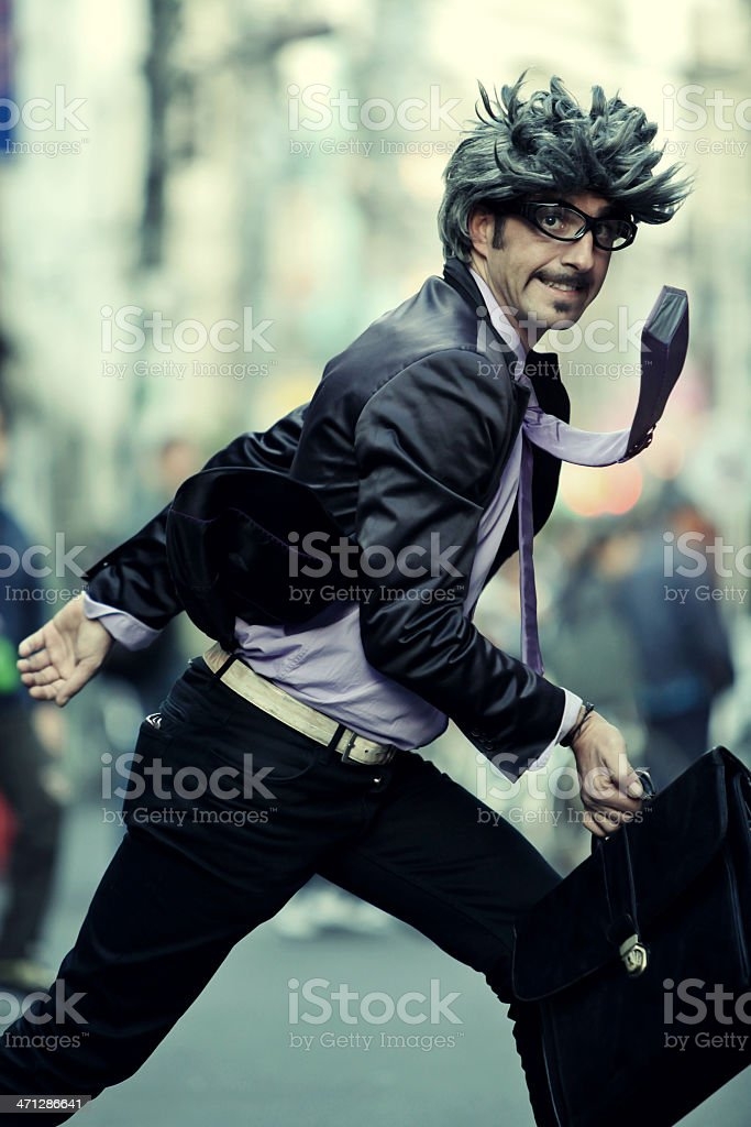 Businessman on the rush royalty-free stock photo