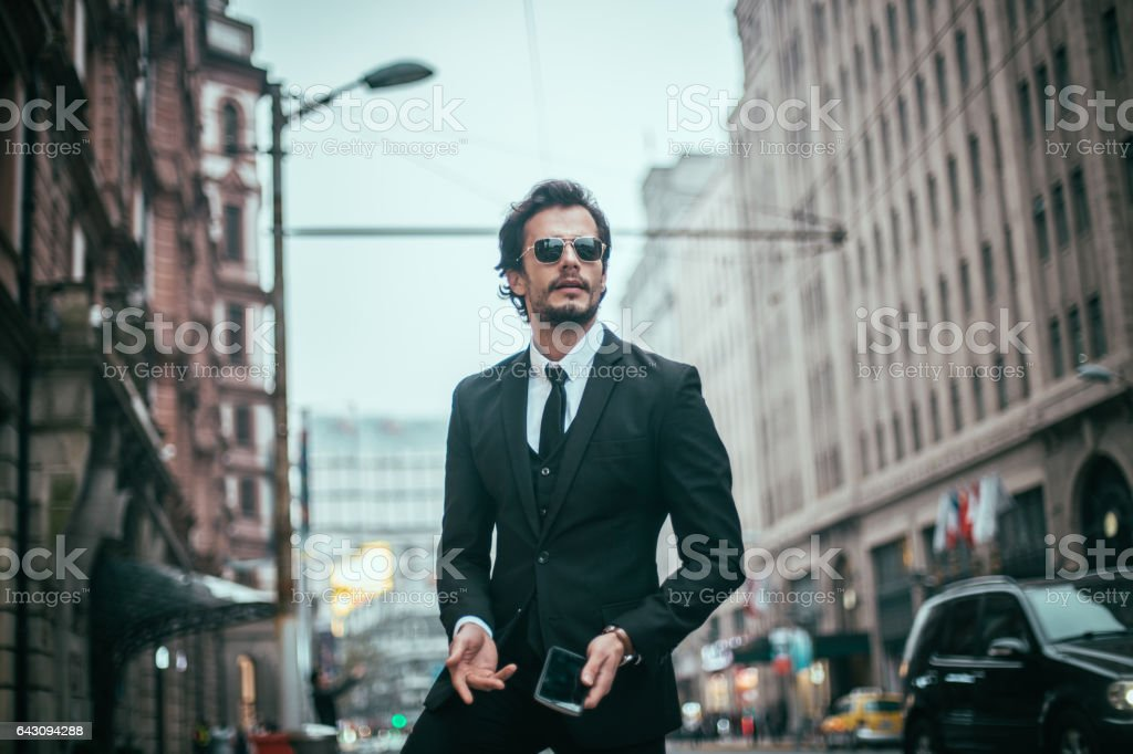 Businessman on the street stock photo