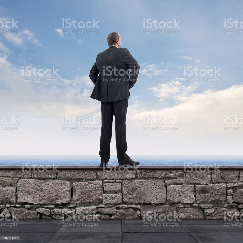 Businessman on the Wall royalty-free stock photo