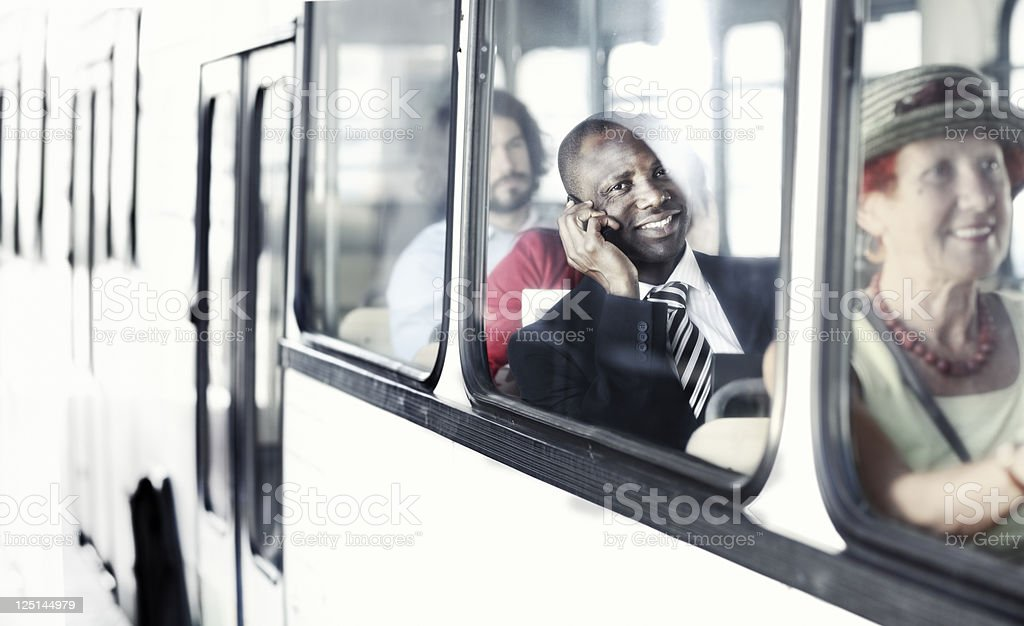 businessman on the way to work by  city bus royalty-free stock photo