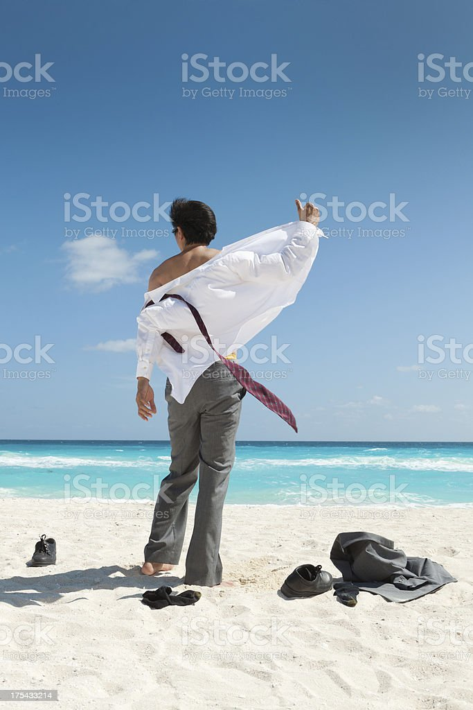 Businessman on Vacation in Caribbean Beach Vt royalty-free stock photo
